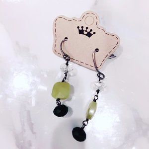 Green and Black Beaded Earrings